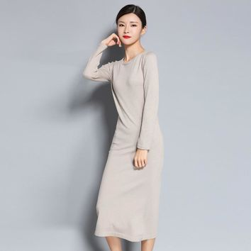 LHZSYY and winter NEW round neck Cashmere blended Sweater dress knit knee Wool long female solid color pullover