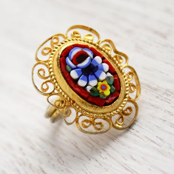 Vintage Micro Mosaic Ring - Gold Tone Adjustable Glass Flower Filigree Costume Jewelry / Floral Tiles