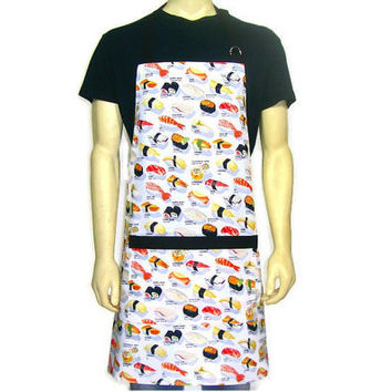 Sushi Chef Apron , Full Adjustable Menu print with Pocket , Japanese Kitchen Decor