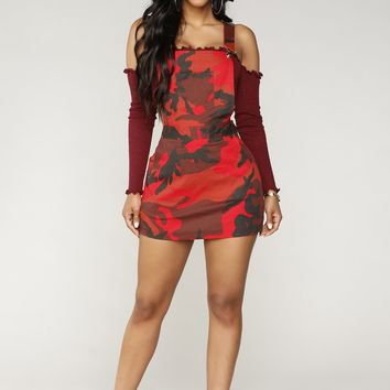 Fightin' Babe Overall Dress - Red/Camo