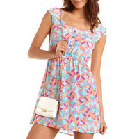 Strappy Back Geo Print Dress: Charlotte Russe