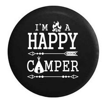I'm a Happy Camper Campfire Tent Travel Camping Outdoors Vacation RV Camper Jeep Spare Tire Cover