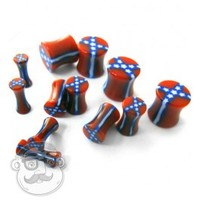 Rebel Flag Double Flare Red Plugs (8 Gauge - 00 Gauge) | UrbanBodyJewelry.com