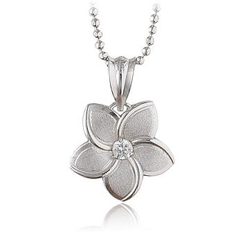 14K White Gold Plumeria Pendant 12mm with Clear CZ