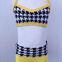 Yellow Convertible High Waist Shorts with Black and White Houndstooth Waist and Matching Houndstooth Bra Top