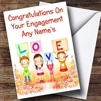 Cute Love Personalized Engagement Greetings Card