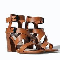 Design Stylish Shoes Summer Peep Toe Leather High Heel Sandals [4918359428]