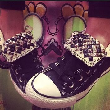 custom studded black high top converse chuck taylors all sizes colors