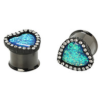 Steel Heart Opal Center Plugs