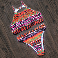 Vintage Print Bikinis Set Swimwear Bathing Suit Cut Out Bikini