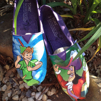 Peter Pan and Captain Hook painted Toms