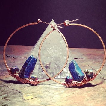 Crystal Castle Infinity Hoop Earrings // Titanium Rainbow Quartz Points