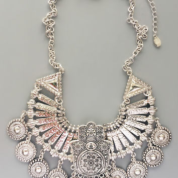 Ancient Hamsa Silver Coin Necklace