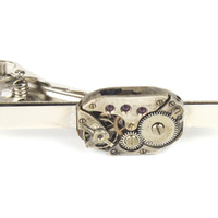 Sterling Silver Vintage Watch Movement Tie Bar Clip