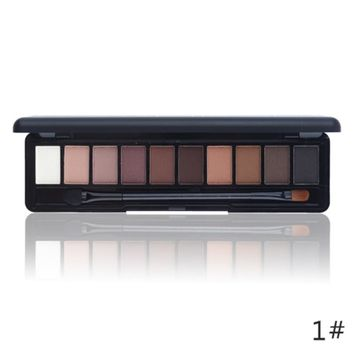Shimmer Matte Natural Fashion Eye Shadow Make Up Light Eyeshadow Cosmetics Set With Brush 10 Colors NOVO Eye Makeup Palette 1PC Gift 111901