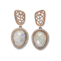 Rose Gold Plated Rainbow Moonstone Earrings