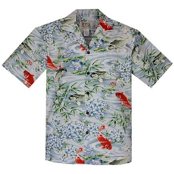 Koi Blue Cotton Hawaiian Shirt