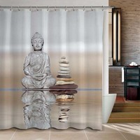 Buddha & Pebble Reflection Design Shower Curtain Bathroom Waterproof Mildewproof Polyester Fabric With 12 Hooks 180cm*180cm