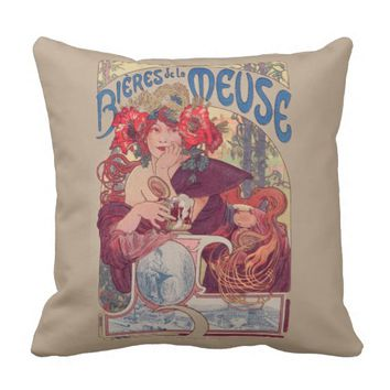 French vintage poster art. throw pillow