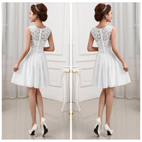 New 2015 Fashion Women Summer chiffon Party Dresses Sexy Sleeveless white lace Short Dress wedding bridesmaid dress Gowns S-XXL