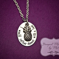 "Psych Fan - ""I would rather shower with a bear"" - Hand Stamped Stainless Steel Necklace - Shawn, Gus and Lassiter - Geekery - Pineapple"