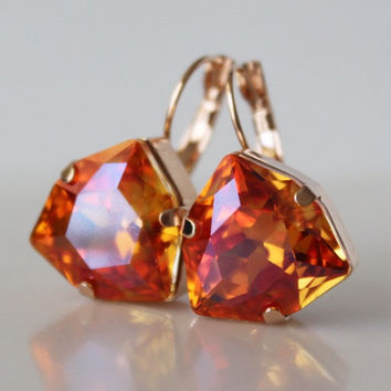 Orange Pink Earrings, Bridesmaid Earring, Crystal Leverback Earrings, Trilliant Earrings, Orange Earrings, Swarovski Crystal, Large Earrings