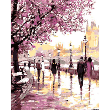 Cherry Blossoms Road Oil Painting By Numbers Kits Wall Art Picture Acrylic Paint On For Artwork