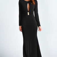 Amie Long Sleeved Peek-a-boo Cut Out Maxi Dress