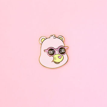 Don't Care Bear - Hard Enamel Gold Lapel Pin