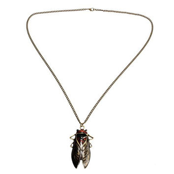 Vintage Bronze Tone Insect Cicada Pendant Sweater Necklace