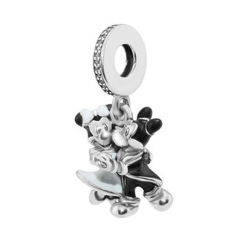 Mickey & Minnie Mouse Beads 100% 925 Sterling Silver White & Black Enamel Dangle Charm for Jewelry Making Fit Bracelet Diy PF792