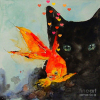 Black Cat And The Goldfish Painting by Paul Lovering - Black Cat And The Goldfish Fine Art Prints and Posters for Sale