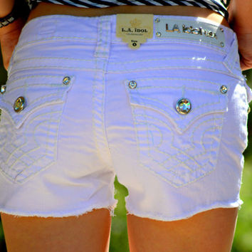 L.A. Idol Shorts Clean Stitching with Rhinestone Button (XSmall)