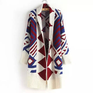 Geometric Print None-Button Sleeve Knitted Cardigan
