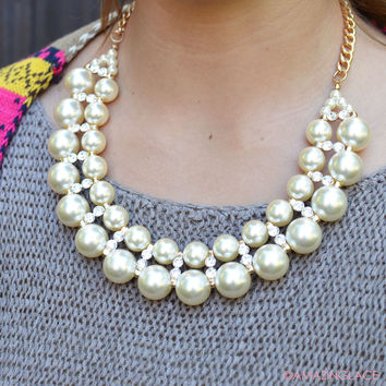 Glamourista Double Layer Pearl & Rhinestone Necklace