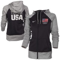 Nike USA All Time Full Zip Performance Hoodie - Ash/Navy Blue