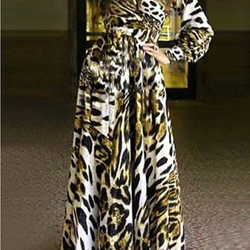 Plunging Neck Long Sleeve Leopard Print Dress