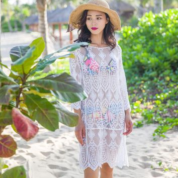 Beach Swimsuit Cover-ups 2016 Summer Women Sexy Crochet Loose Lace Hollow cover up Long Sleeve Bikini Bathing Suit Cover Up Z23