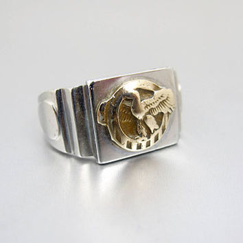 Eagle Signet Ring. Trench Art Mens Silver Gold Embossed Eagle Signet Ring. World War II Military Style Ring. Size 12