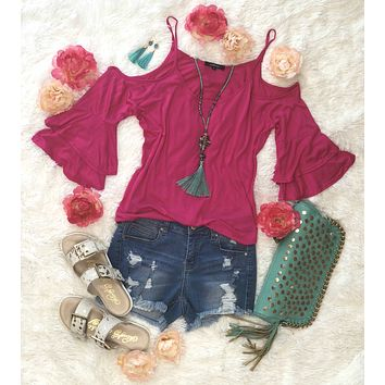 Lounging Day Cold Shoulder Top: Hot Pink