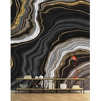 Black and Gold Abstract Marble Stone Pattern Wall Mural. #6146-2