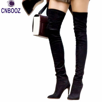 New OliviaPalermo style Winter women Over The knee high boots Long boots Red bottom thigh high woman genuine leather boots