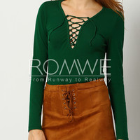 Green Long Sleeve Lace Up T-Shirt