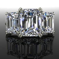 Forever Brilliant Moissanite Engagement Ring Three Stone Emerald Cut 7.00 CTW
