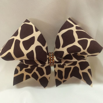 Kenya African Safari Themed Giraffe Brown and Creme Cheer Bow with Swarovski Crystals
