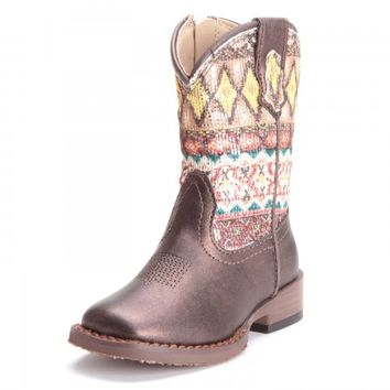 Roper Toddler Girls Glitter Aztec Square Toe Cowboy Boots Brown