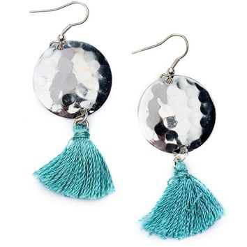 Hammered Tassel Earrings - Matr Boomie (Jewelry)