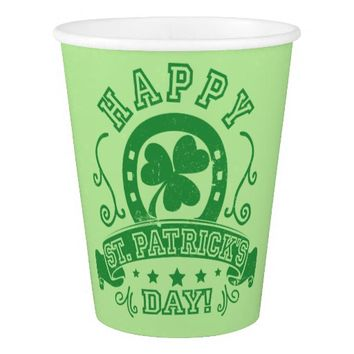Happy St Patrick's Day Shamrock Paper Cup