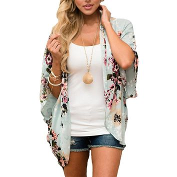 Women Casual Chiffon Floral Printed Half Sleeve Beach Cover Up Kimono Cardigan Blouse Tops Bathing Suit