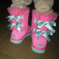 ugg fashion winter women cute bowknot flat warm snow ankle boots-3